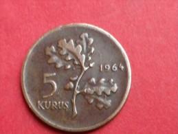 TURQUIE  5  KURUSH 1964  -KM.890.1  - BRONZE  -    TTB - Turquie