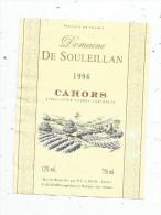 étiquette , CAHORS , Domaine De SOULEILLAN , 1996 , Alazard , Pradines , Lot - Cahors