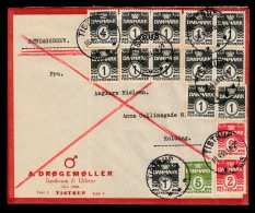 1938. SØNDAGSBREV TISTRUP 30.4.38. 5 + 2x 2 + 13x 1 ØRE.  (Michel: 195+) - JF500407 - Danemark