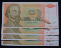SERIES - AB, YUGOSLAVIA LOT 4 X 5,000,000,000 DINARA 1993 PICK-135, VF. - Lots & Kiloware - Banknotes