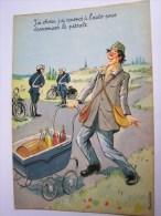 HUMOUR BOISSON VIN LOUIS CARRIERE POIVROT POUCETTE BOUTEILLES GENDARMES MOTARDS PHOTOCHROM 50393 - Humor