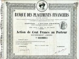 BANQUE Des PLACEMENTS FINANCIERS De 1893 - Banca & Assicurazione
