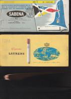 DOC2) SABENA BIGLIETTO PASSEGGERO E BAGAGLIO PASSENGER TICKET AND BAGGAGE CHECK 1951 HOLES STAPPLED - Biglietti
