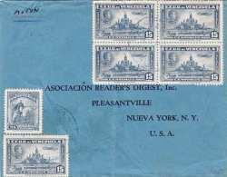 VENEZUELA - Alter LP-Brief Mit 10 Fach Frankatur (2 Vierer Blocks) Gel.v.Venezuela > New York (Brief War Gefaltet) - Venezuela
