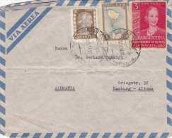ARGENTINA 195? - 3 Fach Frankierung Auf LP-Brief V. Argentinien > Hamburg - Argentinien