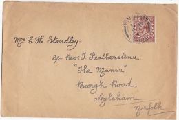 1918 WYMONDHAM Cds GB GV Stamps COVER  To Aylsham - 1902-1951 (Rois)