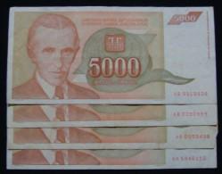 SERIES - AA & AB, YUGOSLAVIA LOT 4 X 5,000 DINARA 1993 PICK-128, VF. - Munten & Bankbiljetten