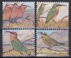 Sambia MiNr. 1473/76 ** Freimarken: Bienenfresser - Stamps