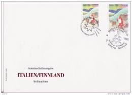 1999 Joint Finland And Italy, MIXED FDC BOTH STAMPS: Christmas. PHILSWISS ONLY 180 COPIES MADE - Emisiones Comunes