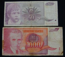 YUGOSLAVIA 50 DINARA 1990 + 1000 DINARA 1992, F. - Yougoslavie