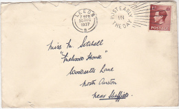 1937 Leeds GB E8 Stamps COVER SLOGAN Pmk  POST EARLY IN THE DAY  Eviii - 1902-1951 (Kings)