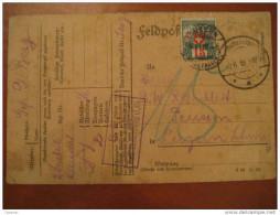 1918 German Feldpost WW1 To Luzern Timbre Taxes 15c Cover Card - Portomarken