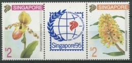 Singapur 1994 Orchideen SINGAPORE´95 Dreierstreifen 718/19 ZD Postfrisch - Singapore (1959-...)