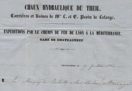 GRANDES SOCIETES INTERNATIONALES CIMENTS LAFARGE PAVIN  1860 Pour MARQUIS DE BILOTTI à JONQUIERES B.E.VSCANS+HIST. - 1800 – 1899