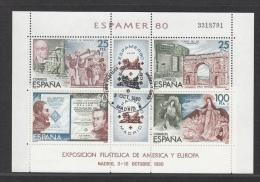 SPAIN USED MICHEL BL 21 ESPAMER 1980 - Blocs & Feuillets