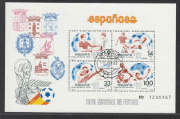 SPAIN USED MICHEL BL 25/26 ESPANA 1982 FOOTBALL - Blocs & Feuillets