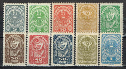 Österreich 1919 / 20 , 10 Marken Postfrisch / MNH / Neuf - 1918-1945 1ste Republiek
