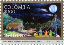 Lote 2014-8, Colombia, 2014, Sello, Stamp, Navidad, Christmas, Paintings Made With The Mouth And Feet - Colombie