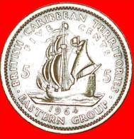 ★SHIP: BRITISH CARIBBEAN TERRITORIES ★ 5 CENTS 1964! LOW START★NO RESERVE!!! - Caribe Británica (Territorios Del)