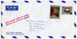 PENRHYN - AIR MAIL COVER TO ITALY 1986 / THEMATIC OVERPRINT OHMS STAMPS-MARINE LIFE (RED CORAL) - SHIP - Penrhyn