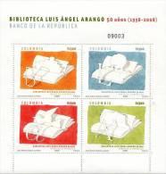 Lote 2498-01P, Colombia, 2008, Pliego, Sheet, Biblioteca Luis Angel Arango, Libros, Books - Colombia