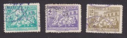 Bolivia, Scott #318, 322-323, Used, People Attacking Presidential Palace, Issued 1947 - Bolivie