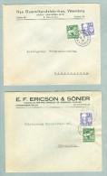 Sweden. 2 Covers 1938. Commercial. Postal Used. Stamp  5 Ore Lion & 10 Ore. Emanuel Swedenborg. - Suède