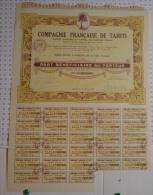 Cie Française De Tahiti à Papeete, Oceanie, Part Beneficiaire - Banque & Assurance