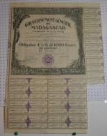Gouvernement Général De Madagascar, Emprunt 4,5% 1932 - Banque & Assurance