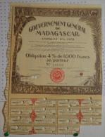Gouvernement Général De Madagascar, Emprunt 4% 1931 - Banque & Assurance