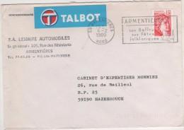 THEME VOITURES AUTOMOBILES - ENVELOPPE TALBOT ARMENTIERES - FLAMME BEFFROI FETES FOLKLORIQUES SUR SABINE 1980 - A VOIR - Lettres & Documents