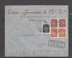 Lettre De PORTO Le 15 1 1947 Enveloppe PUB Avec 5 Timbres Pour BORDEAUX   Dont 2 BANDES De 2 - 1910-... Republic