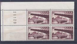 Sarre - 1954-55 - Yvert N° 338, Neuf ** - Bloc De 4, Coin, Variété - Ungebraucht