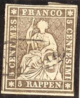 Heimat TI Malvaglia Ca. 1860 Strahlen-O 5Rp. Strubel Zu#22G - 1854-1862 Helvetia (Ungezähnt)