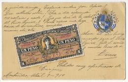 Postal De Relieve Billete Banco De Uruguay  Bank Note Banque Embossed - Uruguay