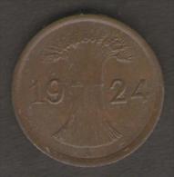 GERMANIA 1 REICHSPFENNIG 1924 - [ 3] 1918-1933 : Repubblica Di Weimar