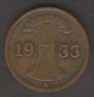 GERMANIA 1 REICHSPFENNIG 1933 - [ 3] 1918-1933 : Repubblica Di Weimar