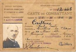 """Carte D'Ancien Combattant """" Comité Départemental Ardennes """" Auvillers Les Forges (08) - Cartes"""