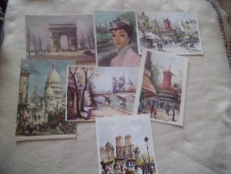 LOT DE 7 CARTES PARIS.....BELLES ILLUSTRATIONS - Postales