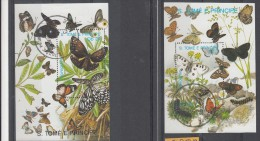Sao Tome En Principe 1989 Mi Nr Blok 217 + 219 Vlinders, Butterfly - Sao Tome En Principe