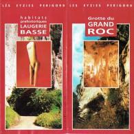 Ancien Dépliant Sur Les Abris Préhistoriques De Laugerie Basse Et La Grotte De Grand Roc Les Eyzies De Tayac (Périgord) - Dépliants Touristiques