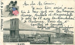 Cpa NEW YORK - East River And Brooklyn Bridge - Flag - Ponts & Tunnels