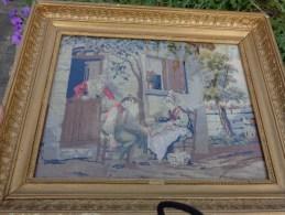 Canevas Tapisserie Tres Ancienne 30x22 Cm + Cadre Ancien. - Art Populaire