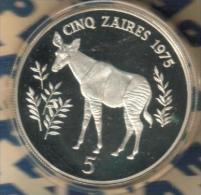 ZAIR ( CONGO) 5 ZAIRES OKAPO ANIMAL FRONT MOBUTE HEAD BACK 1975 AG SILVER PROOF KM10 READ DESCRIPTION CAREFULLY !!! - Zaïre (1971-97)