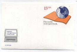 USA LITERACY AWARENESS COMPUTER POSTAL CARD 1990