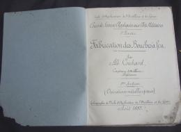 Cours école Militaire Artillerie Et Du Génie BOUCHES à FEU Couhard 1885 Canon Tube Frette Artillerie De Marine - Documents
