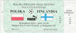DOC1) BIGLIETTO INGRESSO POLSKA FINLAND STADION LECH POZNAN BULGARSKA MONDIALI?? CALCIO FOOTBALL FORMATO 17,5 X 8 Cm - Biglietti D'ingresso