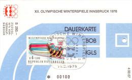 Olympiade Innsbruck 1976 Original Eintittskarte Dauerkarte Bob - Ansehen!! - Tickets - Vouchers