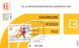 Olympiade Innsbruck 1976 Original Eintittskarte Dauerkarte Rodeln - Ansehen!! - Tickets - Vouchers