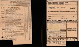 DOC1) TESSERA COMITATO UNRRA TESSILE 1948 CON BOLLI SOCCORSO INVERNALE - Documentos Históricos